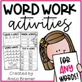 Word Work Activities for ANY Words Pack 1