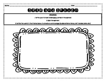 Word Work Activities for Any List