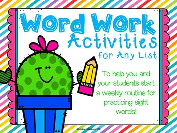 Word Work Activities for Any List (No-Prep Sight Word Practice)