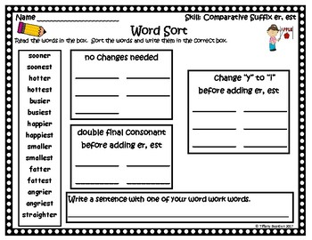 Word Work Activities for Comparative Suffix er, est