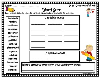 Word Work Activities for Compound Words