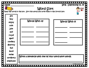 Word Work Activities for Diphthong oi, oy