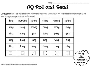 Word Work Activities for Ending -NG