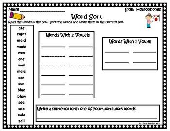 Word Work Activities for Homophones