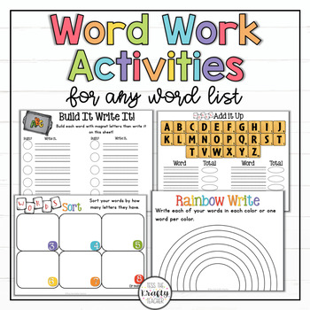 Word Work Activities, Any Word List, Spelling, First, Second, Third