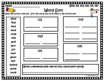 Word Work Activities for ild, ind, old, olt, ost