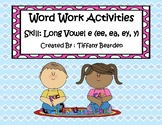 Word Work Activities for long vowel e (ee, ea, ey, y)