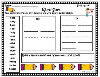 Word Work Activities for ng, nk