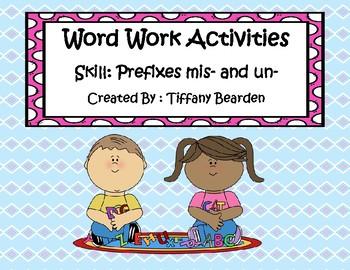 Word Work Activities for prefixes mis- and un-