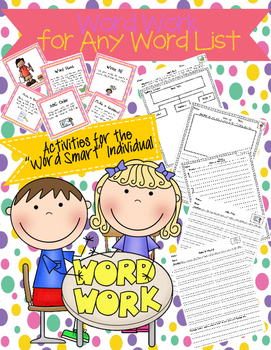 """Word Work Task Cards and Recording Sheets for the """"Word Sm"""