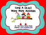Word Work Activities/Literacy Centers for Long A (ai, ay)- Christmas Theme