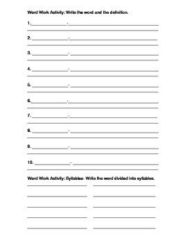 Word Work Activity