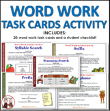 Word Work Task Cards Activity
