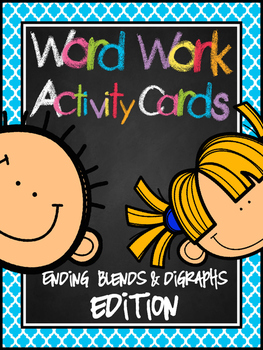 Word Work Activity Cards--200+ ENDING SOUND Blends & Digraphs Edition