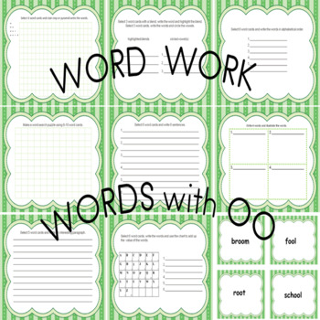 Word Work Activities for Words with oo