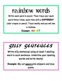 Word Work Activity Instruction Cards