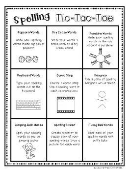 Word Work Activity Pack: Spelling Tic Tac Toe Bundle