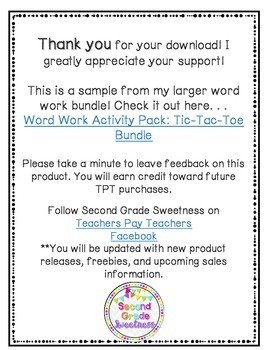 Word Work Activity Packet: Spelling Tic Tac Toe FREEBIE
