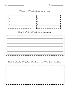 Word Work Activity Sheet