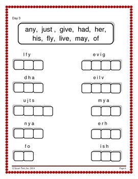 Word Work Activity - Sight Words Week 13 - 18