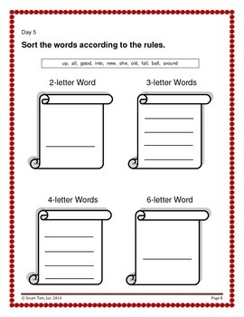 Word Work Activity - Sight Words Week 5-6