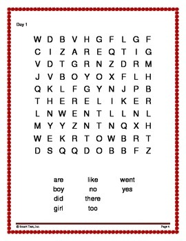 Word Work Activity - Sight Words Week 7-12