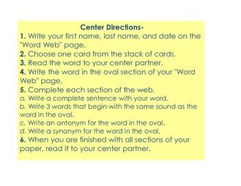 Word Work Activity Web