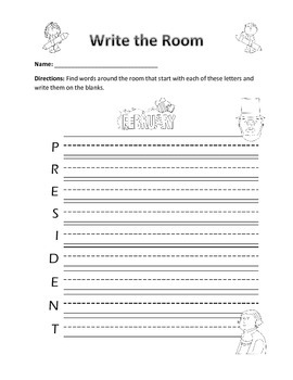 Word Work Activity- Write the Room (February)