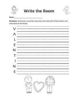 Word Work Activity- Write the Room (February Holidays)