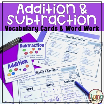 Addition and Subtraction Vocabulary Cards and Word Work Activities