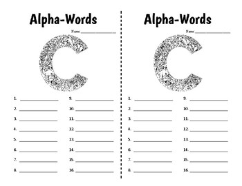 Word Work - Alpha Words - Half Pages - 26 Pre-Made