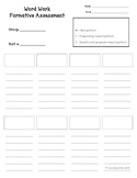 Word Work Assessment Sheets