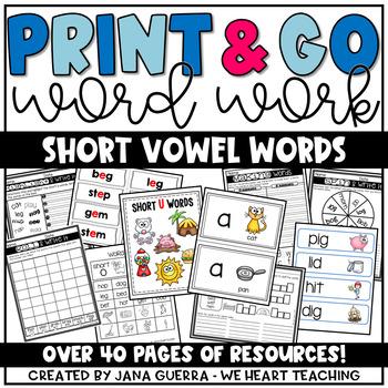 Word Work: Short Vowel CVC Weekly Activities