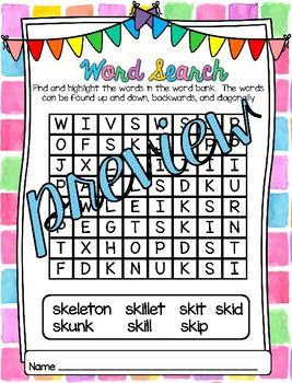 Word Work - Beginning Blends - SK