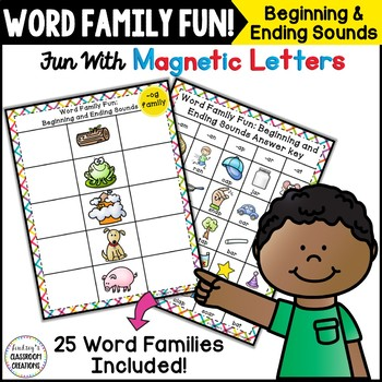 Word Work ~ Beginning & Ending Sounds ~ Word Families ~ Magnetic Letters Center!