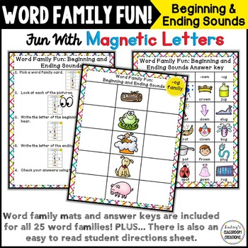 Beginning & Ending Sounds ~ Word Families Word Work / Magnetic Letters Center!