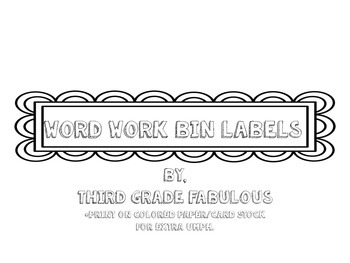 Word Work Bin Labels
