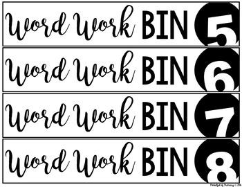Word Work Bin Labels | FREEBIE