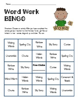 Word Work Bingo Board