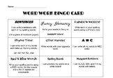 Word Work Bingo Card