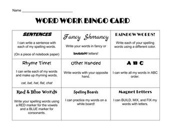Word Work Bingo Card