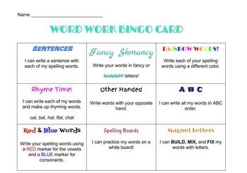 Word Work Bingo Card-Color