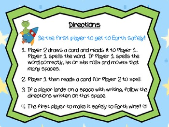 Word Work Board Game: Stellar Spellers