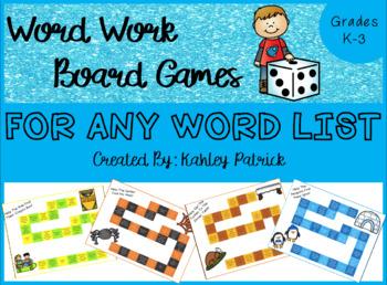 Word Work Board Games
