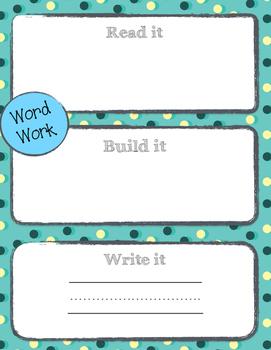 Word Work Board- Read it, Build it, Write it!