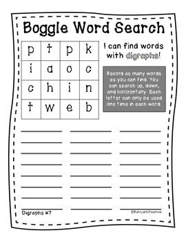 Word Work: Boggle Board Worksheets (Digraphs)