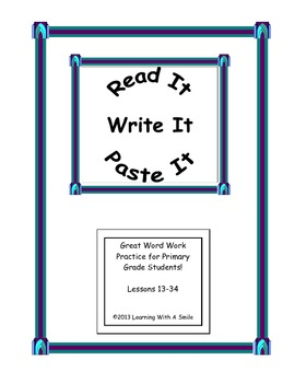 Harcourt Trophies First Grade Word Work (Books 3, 4, & 5) Read, Write, Paste It!