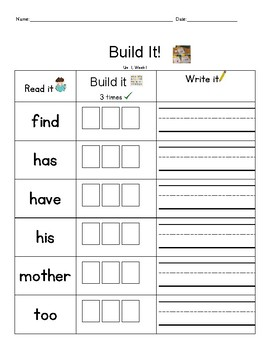 Word Work: Build It! National Geographic Reach for Reading 1st Gr. Words All