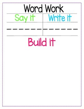 """Word Work """"Build it"""" Center"""