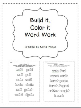Vowel Teams Word Work: Build it, Color it Printables